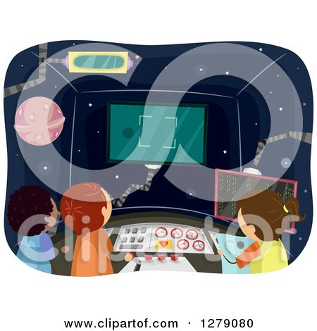 Clipart of Children Operating a Control Room in a Spaceship - Royalty Free Vector Illustration by BNP Design Studio