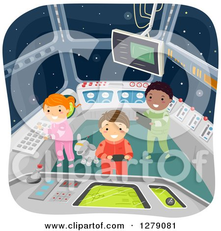Clipart of a Robot Dog and Futuristic Children in a Spaceship Control Room - Royalty Free Vector Illustration by BNP Design Studio