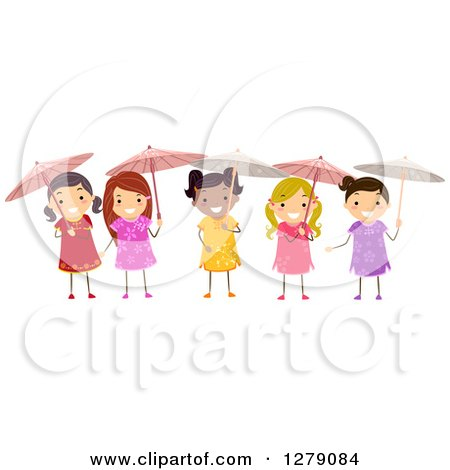 Clipart of Happy Girls Wearing Chinese Dresses and Holding Parasol Umbrellas - Royalty Free Vector Illustration by BNP Design Studio