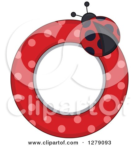 Clipart of a Ladybug Circular Label with Polka Dots - Royalty Free Vector Illustration by BNP Design Studio
