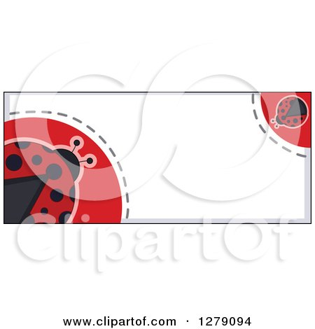 Clipart of a Ladybug Border with Dots and Text Space - Royalty Free Vector Illustration by BNP Design Studio