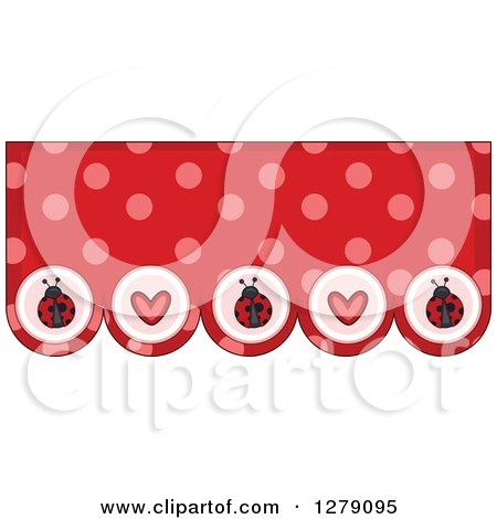 Clipart of a Red and Pink Polka Dot and Heart Ladybug Bunting Border - Royalty Free Vector Illustration by BNP Design Studio