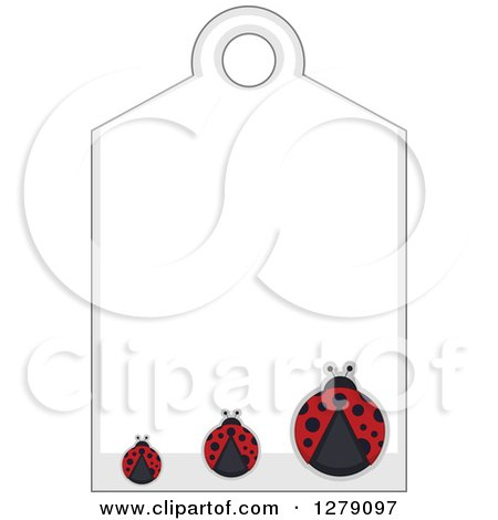 Clipart of a Sales Tag with Three Ladybugs and Text Space - Royalty Free Vector Illustration by BNP Design Studio