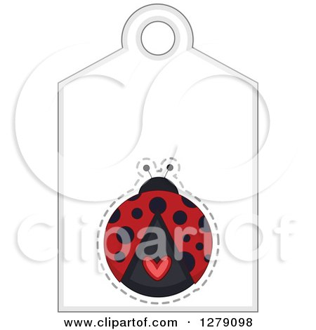 Clipart of a Ladybug Sales Tag with Text Space and a Heart - Royalty Free Vector Illustration by BNP Design Studio