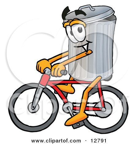 Clipart Picture of a Garbage Can Mascot Cartoon Character Riding a Bicycle by Toons4Biz