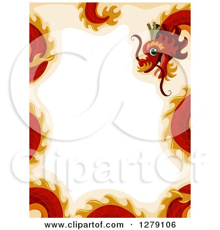 Clipart of a Red Chinese New Year Dragon Border - Royalty Free Vector Illustration by BNP Design Studio