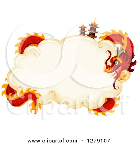 preview clipart red chinese new year dragon encircling a cloud with pagodas