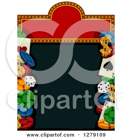 Clipart of a Casino Sign with Dice, Poker Chips, Playing Cards and Dollar Symbols - Royalty Free Vector Illustration by BNP Design Studio