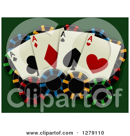 Clipart of Aces Playing Cards and Poker Chips on Green - Royalty Free Vector Illustration by BNP Design Studio