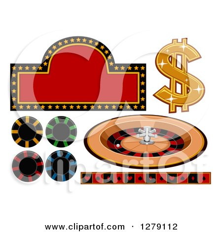 Clipart of a Casino Sign, Dollar Symbol, Roulette Wheel, Poker Chips and Card Suit Border - Royalty Free Vector Illustration by BNP Design Studio