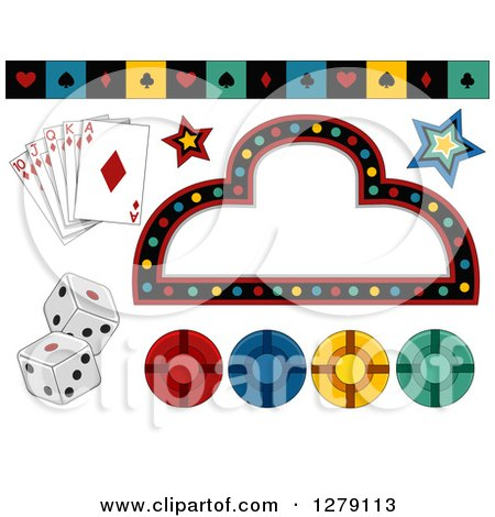Clipart of a Casino Sign, Playing Cards, Suit Border, Stars, Dice and Poker Chips - Royalty Free Vector Illustration by BNP Design Studio