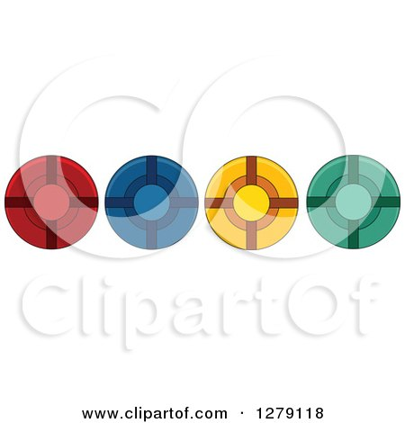 Clipart of a Border of Colorful Poker Chips - Royalty Free Vector Illustration by BNP Design Studio
