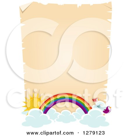 Clipart of a Blank Aged Parchment Page with Clouds, the Sun, Birds and a Rainbow Arch - Royalty Free Vector Illustration by BNP Design Studio