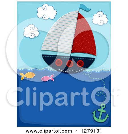 Clipart of a Sewn Styled Sailboat with Fish and an Anchor - Royalty Free Vector Illustration by BNP Design Studio
