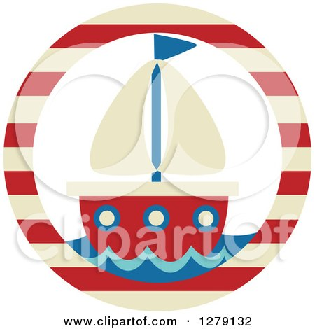 Clipart of a Nautical Maritime Sailboat in a Striped Circle - Royalty Free Vector Illustration by BNP Design Studio