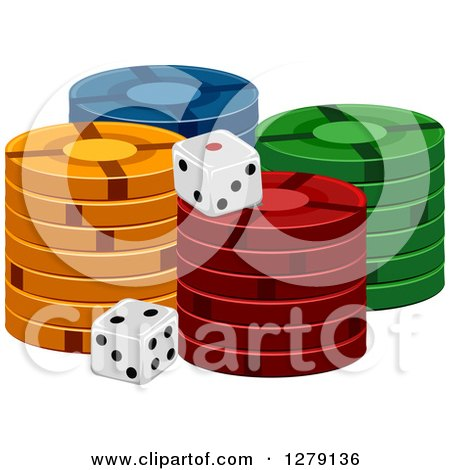 Clipart of Stacks of Casino Poker Chips and Dice - Royalty Free Vector Illustration by BNP Design Studio