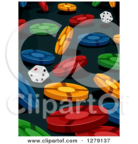 Clipart of a Background of Falling Colorful Poker Chips and Dice on Black - Royalty Free Vector Illustration by BNP Design Studio