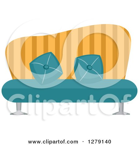 Clipart of a Vintage Turquoise and Yellow Striped Couch - Royalty Free Vector Illustration by BNP Design Studio
