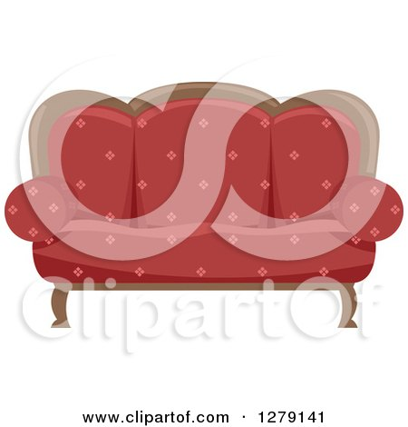 Clipart of a Red Vintage Couch - Royalty Free Vector Illustration by BNP Design Studio