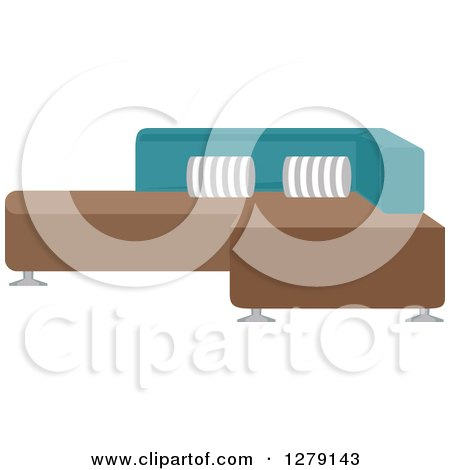 Clipart of a Modern Sectional Couch - Royalty Free Vector Illustration by BNP Design Studio