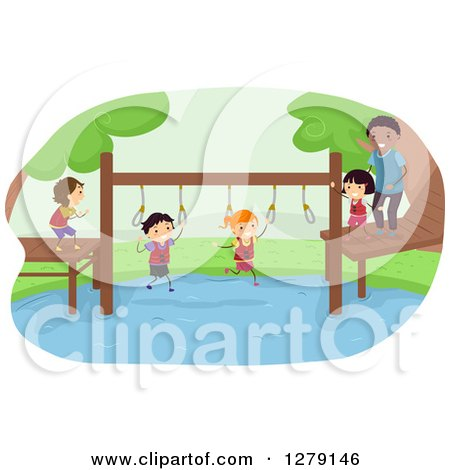 Happy Stick Kids Crossing a Pond on an Obstacle Course Posters, Art Prints