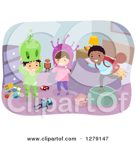Clipart of Happy Stick Children Playing in a Room with Alien Costumes - Royalty Free Vector Illustration by BNP Design Studio