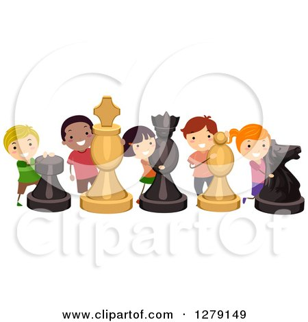 Clipart of Happy Children with Life Size Chess Pieces - Royalty Free Vector Illustration by BNP Design Studio