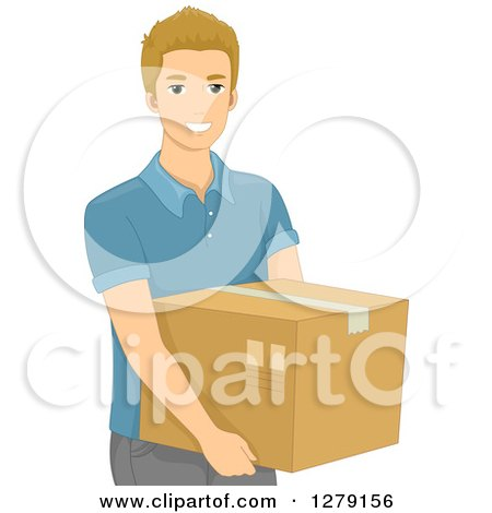 Clipart of a Blond White Man Carrying a Box - Royalty Free Vector Illustration by BNP Design Studio