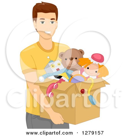 Clipart of a Brunette White Man Carrying a Box of Toys - Royalty Free Vector Illustration by BNP Design Studio