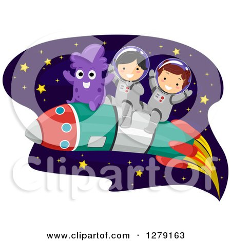 Clipart of Happy Children Astronauts and an Alien Flying Through Outer Space on a Rocket - Royalty Free Vector Illustration by BNP Design Studio