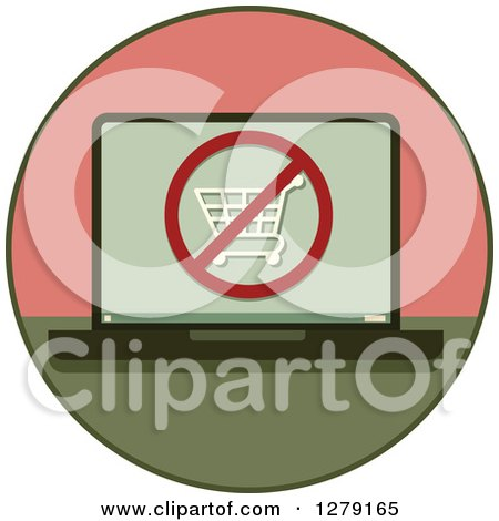 Clipart of a Laptop Computer with a Restricted Shopping Cart Icon on the Screen - Royalty Free Vector Illustration by BNP Design Studio