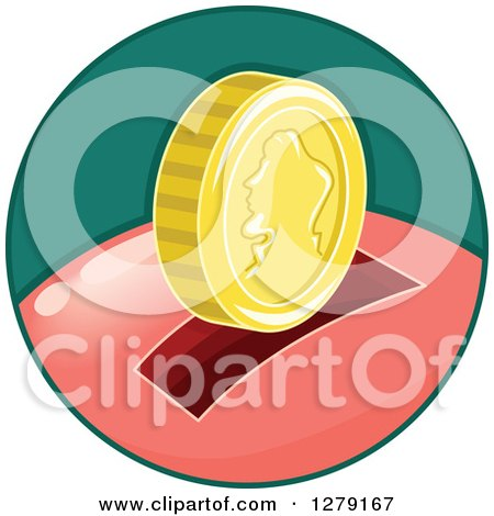 Clipart of a Gold Coin over the Slot of a Piggy Bank in a Green Circle - Royalty Free Vector Illustration by BNP Design Studio
