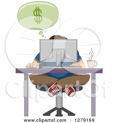 Clipart of a Hunched Man Sitting Indian Style at a Computer Desk and Discovering Online Business - Royalty Free Vector Illustration by BNP Design Studio