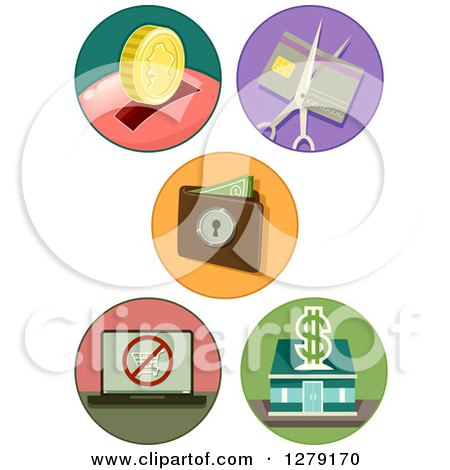 Clipart of Thrift and Banking Icons - Royalty Free Vector Illustration by BNP Design Studio