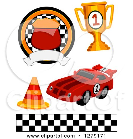 Clipart Of A Motorsports Racing Badge Trophy Traffic Cone Race Car And Checkered Flag Border