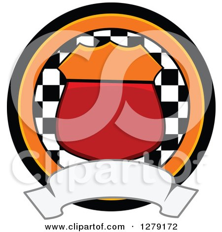 Clipart of a Motorsports Racing Shield, Checkered Flag and Blank Banner Badge - Royalty Free Vector Illustration by BNP Design Studio