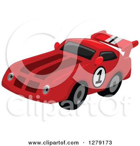 Clipart of a Red Race Car with a Number on the Side - Royalty Free Vector Illustration by BNP Design Studio