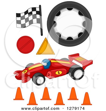 Clipart of Formula One Racing Items - Royalty Free Vector Illustration by BNP Design Studio