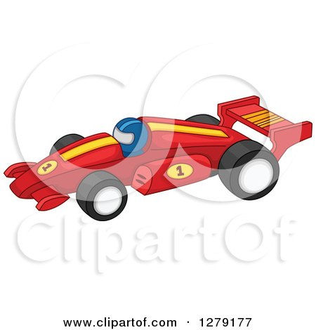 Clipart of a Forumla One Race Car Driver in a Red Vehicle - Royalty Free Vector Illustration by BNP Design Studio