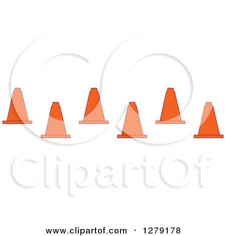 Clipart of Staggered Traffic Cones - Royalty Free Vector Illustration by BNP Design Studio