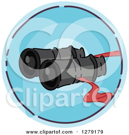 Clipart of a Sketched Round Blue Binoculars Icon - Royalty Free Vector Illustration by BNP Design Studio
