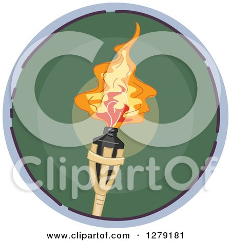 Clipart of a Sketched Round Green Torch Icon - Royalty Free Vector Illustration by BNP Design Studio