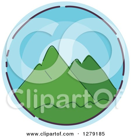 Clipart of a Sketched Round Blue Mountains Icon - Royalty Free Vector Illustration by BNP Design Studio