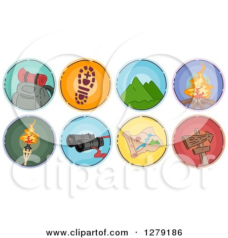 Clipart of Sketched Round Mountaineering Camping and Hiking Icons - Royalty Free Vector Illustration by BNP Design Studio