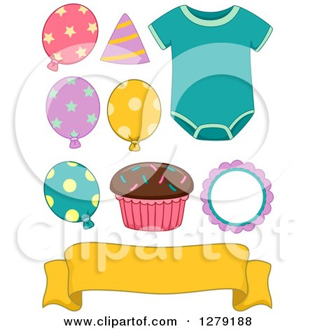 Clipart of a Baby Birthday Onesie, Cupcake, Banner and Party Balloons - Royalty Free Vector Illustration by BNP Design Studio