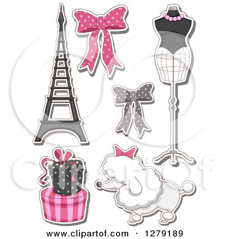 Clipart Of Sticker Styled French Fashion Themed Bows Mannequin Poodle Gifts And The Eiffel Tower