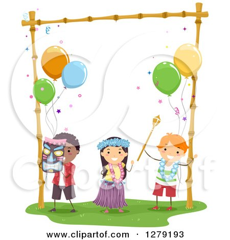 Clipart of Happy Kids Dancing at a Hawaiian Themed Birthday Party - Royalty Free Vector Illustration by BNP Design Studio