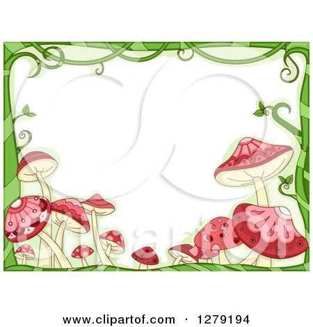 Clipart of a Green Vine and Pink Mushroom Border Around Text Space - Royalty Free Vector Illustration by BNP Design Studio