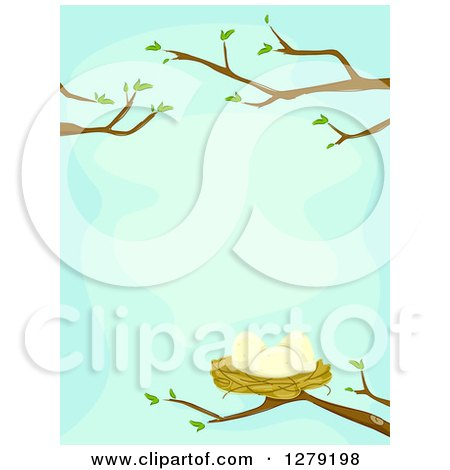 Clipart of a Bird Nest with Eggs on Nearly Bare Spring Branches over Blue - Royalty Free Vector Illustration by BNP Design Studio