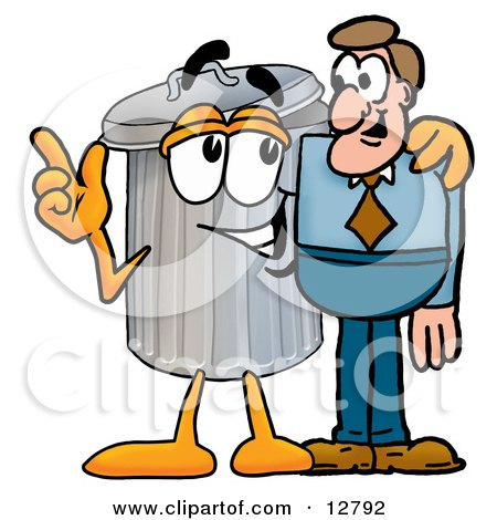 Clipart Picture of a Garbage Can Mascot Cartoon Character Talking to a Business Man by Toons4Biz